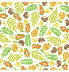 awesome tropical fruits and palm leaves background vector image