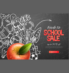 back to school sale template realistic red apple vector image