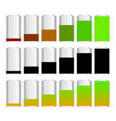 Battery level indicator set with 3 versions vector