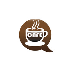 big hot cup of cafe warm caffee logo design vector image