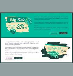 Big sale discount offer summer sale web poster set vector