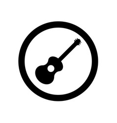 black acoustic guitar sign in circle isolated vector image