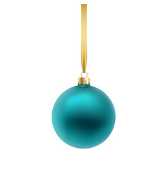 blue christmas ball isolated on white background vector image