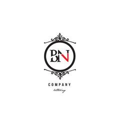 bn b n red white black decorative monogram vector image