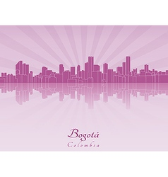 Bogota skyline in purple radiant orchid vector