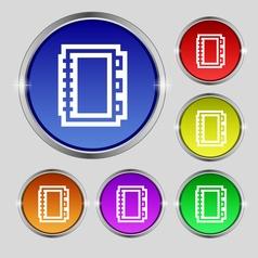 Book icon sign Round symbol on bright colourful vector