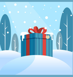 Box with a gift in the snow vector
