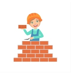 Boy Building A Brick Wall Kid Dressed As Builder vector