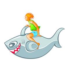 Boy on shark rocket vector image