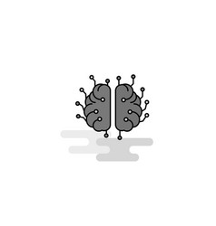 brain processor web icon flat line filled gray vector image