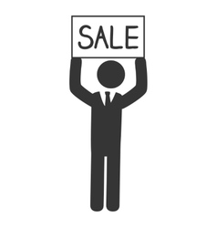 Businessman sale advertising icon vector