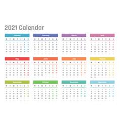 calendar for 2021 starts monday calendar vector image