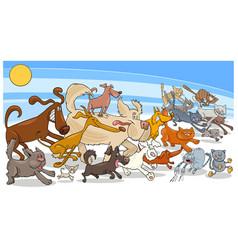 cartoon running dog and cats group vector image