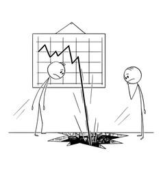 Cartoon two businessmen watching business vector