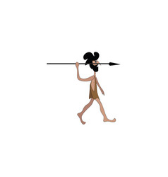 Caveman with spear on white background vector