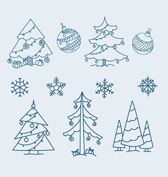 Christmas doodle elements collection vector