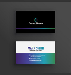 Clean vibrant business card design vector