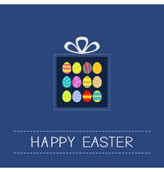 Colored easter egg set dash line giftbox card flat vector