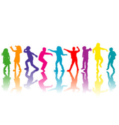 colorful group children silhouettes dancing vector image
