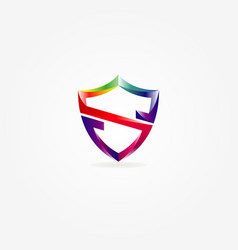 colorful shield letter s logo template vector image