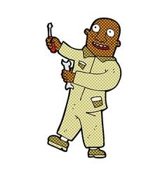 Comic cartoon mechanic vector