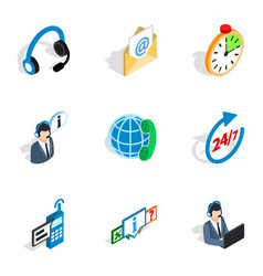 contact and support icons isometric 3d style vector image