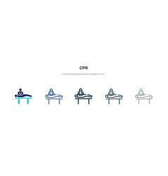 Cpr icon in different style two colored vector