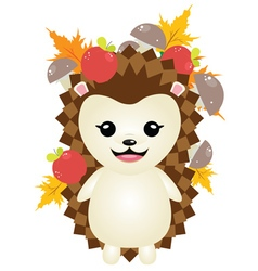 Cute Autumn Hedgehog4 vector