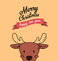 Cute reindeer christmas greeting card vector