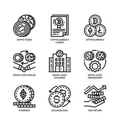 Digital asset icons set vector