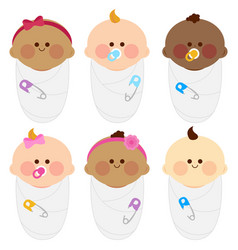 Diverse group newborn babies wrapped in cloth vector