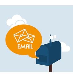 Email design over blue background vector