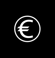 euro coin solid icon finance and business vector image