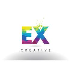 Ex e x colorful letter origami triangles design vector