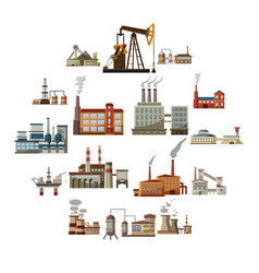 factory icons set cartoon style vector image