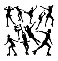 female ice skating silhouettes vector image