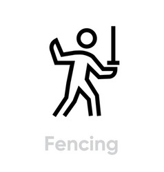 Fencing sport icons vector