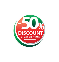 Fifty percent discount sign vector