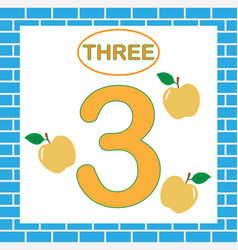 Flashcard with number 3 three learning numbers vector