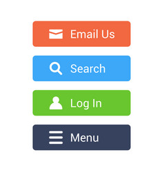 Flat buttons set email search log in menu vector