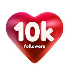 Followers thank you red heart for social network vector