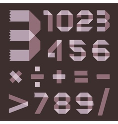 Font from lilac scotch tape - Arabic numerals vector