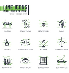 Future line icons vector image
