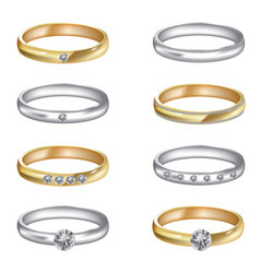 Gold and silver wedding rings set vector