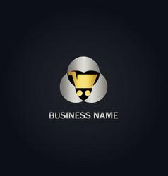 gold shopping cart business logo vector image