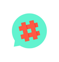 Green speech bubble with red hashtag vector