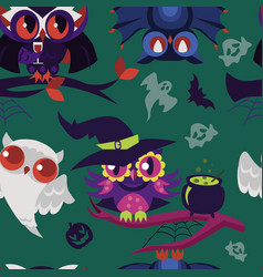 halloween night-birds flat endless texture vector image
