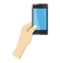 Hand holding smartphone icon cartoon style vector image