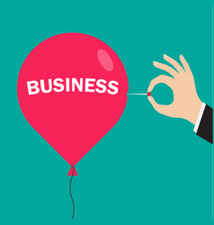 Hand pushing needle to pop business balloon vector
