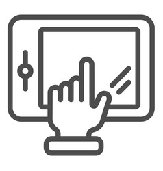Hand touching tablet line icon finger pointing on vector